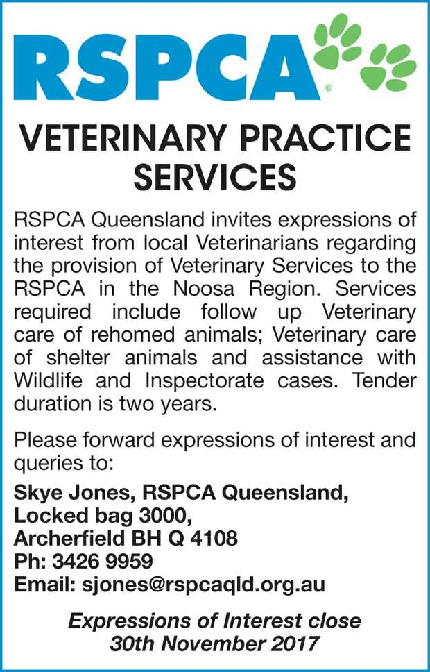 RSPCA Queensland invites expressions of interest from local Veterinarians regarding the provision...