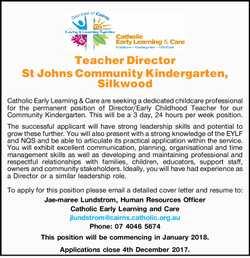 Teacher Director St Johns Community Kindergarten, Silkwood   Catholic Early Learning &...