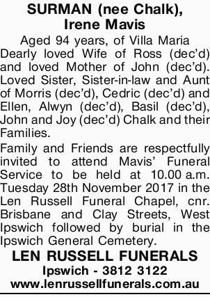 SURMAN (nee Chalk), Irene Mavis   Aged 94 years, of Villa Maria Dearly loved Wife of Ross (de...