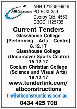 ABN 12126896946 PO BOX 359 Cooroy Qld. 4563 QBCC 1125705 Current Tenders Glasshouse College (Perf...