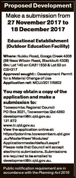 Proposed Development Make a submission from 27 November 2017 to 18 December 2017 Educational Establi...