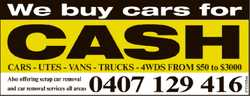 cars utes vans trucks 4WDs   from $50 to $3000   Also offering scrap car removal   an...