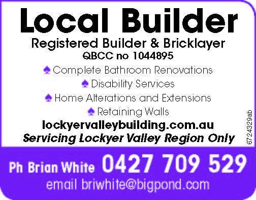 Local Builder   Registered Builder & Bricklayer   QBCC no 1044895   ♠ Comp...