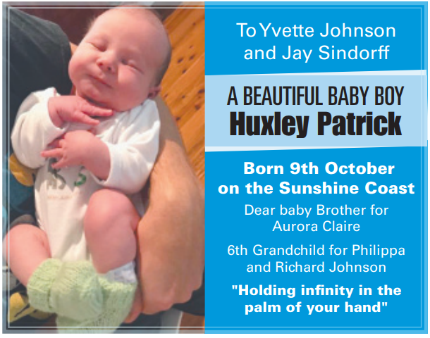 A beautiful baby boy Huxley Patrick born 9th October on the Sunshine Coast Dear baby Brothe...