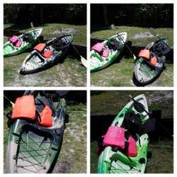 2 Kayaks, seats, paddles and Life Jackets.