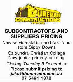 SUBCONTRACTORS AND SUPPLIERS PRICING New service station and fast food store Sippy Downs Caloundr...
