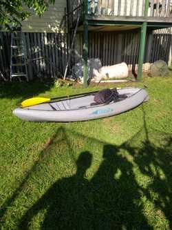 Kayak, Viking Ozzie, one seat, paddle, storage, 2.7 metres. Good condition.