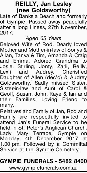 REILLY, Jan Lesley (nee Goldsworthy)