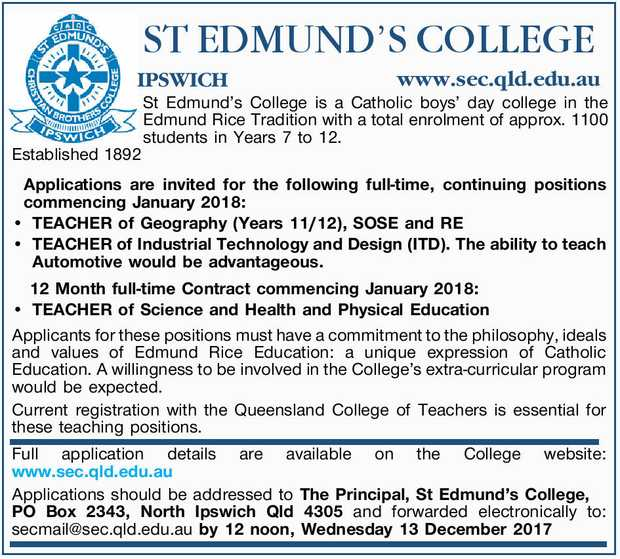 Applications are invited for the following full-time, continuing positions commencing January 201...