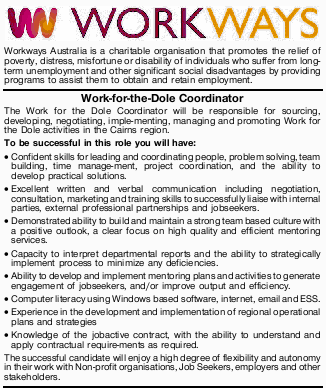 Workways Australia is a charitable organisation that promotes the relief of poverty, distress, mi...