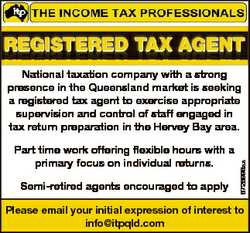 RegisteRed tax agent gent R egisteRed t ax a Part time work offering flexible hours with a primary f...