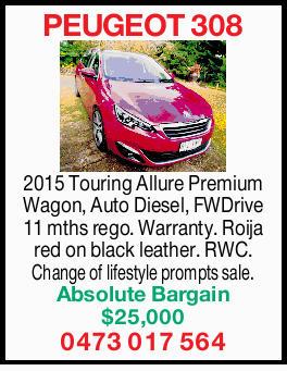 2015 Touring Allure Premium Wagon,   Auto Diesel,   FW Drive   11 mths rego.   Wa...