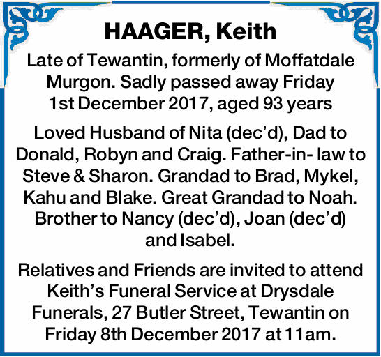 Late of Tewantin, formerly of Moffatdale Murgon.   Sadly passed away Friday 1st Decembe...