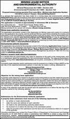MINING LEASE NOTICE AND ENVIRONMENTAL AUTHORITY