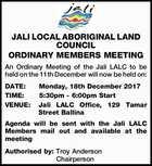 JALI LOCAL ABORIGINAL LAND COUNCIL ORDINARY MEMBERS MEETING