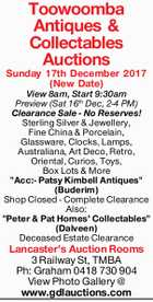 Toowoomba Antiques & Collectables Auctions  Sunday 17th Dec 2017 (New Date)