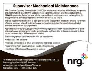 Supervisor Mechanical Maintenance