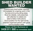 SHED BUILDER WANTED