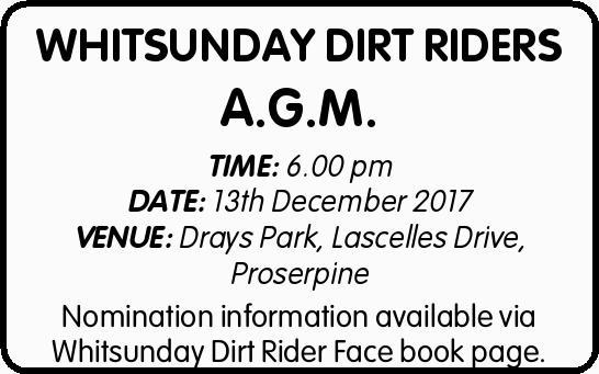 TIME: 6.00 pm   DATE: 13th December 2017   VENUE: Drays Park, Lascelles Drive, Proserpine...