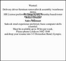 Wanted: Delivery driver/furniture removalist & assembly /warehouse duties HR License preferre...