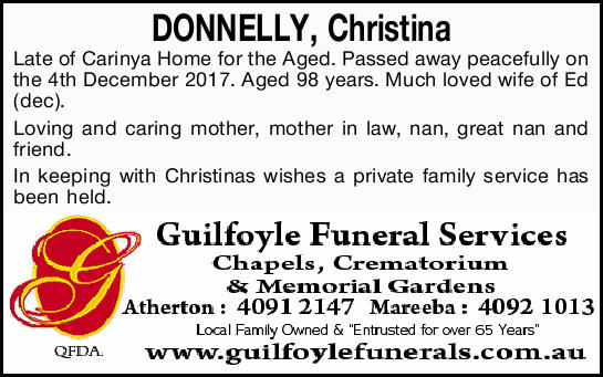 of Carinya Home for the Aged. Passed away peacefully on the 4th December 2017. Aged 98 years. Muc...