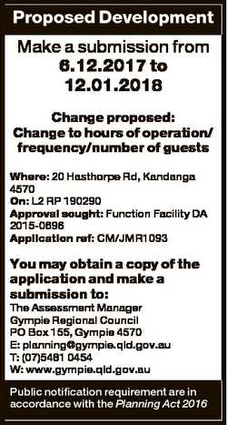 Proposed Development Make a submission from 6.12.2017 to 12.01.2018 Change proposed: Change to hours...