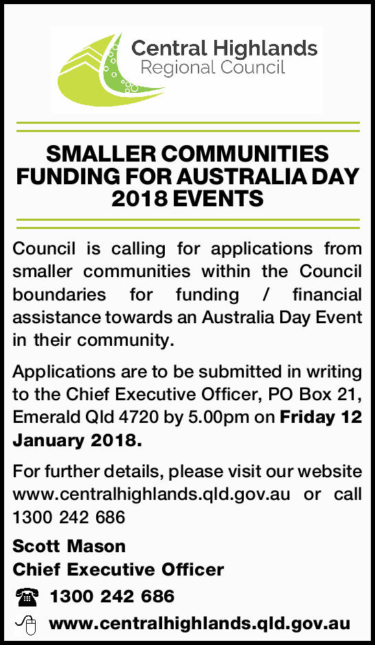 SMALLER COMMUNITIES FUNDING FOR AUSTRALIA DAY 2018 EVENTS Council is calling for applications fro...