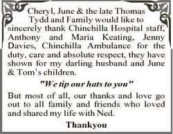Cheryl, June & the late Thomas Tydd and Family would like to sincerely thank Chinchilla Hospital...