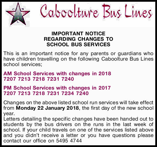 IMPORTANT NOTICE REGARDING CHANGES TO SCHOOL BUS SERVICES This is an important notice for any par...