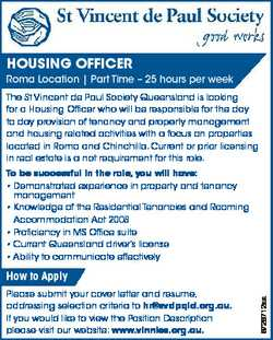 HOUSING OFFICER Roma Location | Part Time - 25 hours per week The St Vincent de Paul Society Queensl...