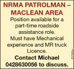 Position available for a part-time roadside assistance role. Must have Mechanical experience and MR...