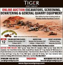 ONLINE AUCTION EXCAVATORS, SCREENING, DEWATERING & GENERAL QUARRY EQUIPMENT This Online Auction...
