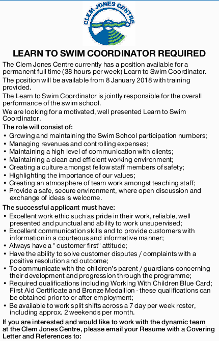The Clem Jones Centre currently has a position available for a permanent full time (38 hours per...