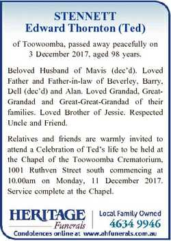 STENNETT Edward Thornton (Ted) of Toowoomba, passed away peacefully on 3 December 2017, aged 98 year...
