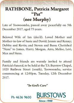 "RATHBONE, Patricia Margaret ""Pat"" (nee Murphy) Late of Toowoomba, passed away peacefully o..."