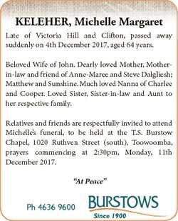 KELEHER, Michelle Margaret Late of Victoria Hill and Clifton, passed away suddenly on 4th December 2...