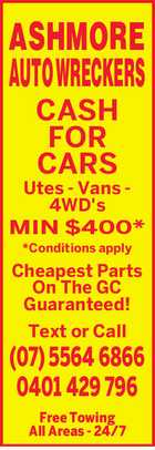 ASHMORE AUTO WRECKERS - CASH FOR CARS