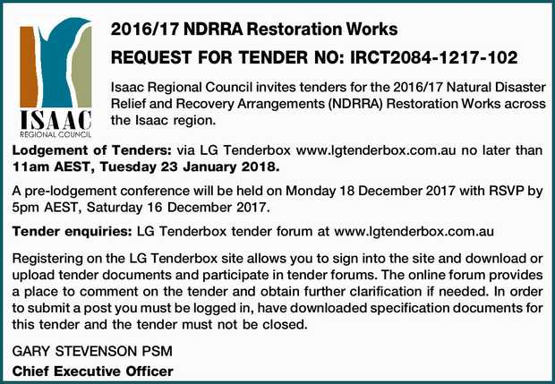 2016/17 NDRRA Restoration Works REQUEST FOR TENDER NO: IRCT2084-1217-102 Isaac Regional Council i...