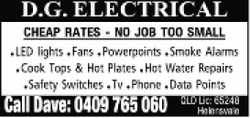 CHEAP RATES - NO JOB TOO SMALL    LED Lights  Powerpoints  Smoke Alarms  Co...
