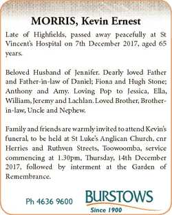 MORRIS, Kevin Ernest Late of Highfields, passed away peacefully at St Vincent's Hospital on 7th...
