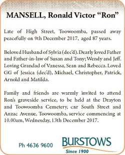 "MANSELL, Ronald Victor ""Ron"" Late of High Street, Toowoomba, passed away peacefully on 9th..."
