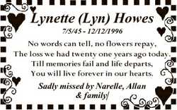 Lynette (Lyn) Howes 7/5/45 - 12/12/1996 No words can tell, no flowers repay, The loss we had twenty...