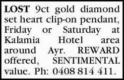 LOST 9ct gold diamond set heart clip-on pendant, Friday or Saturday at Kalamia Hotel area around...