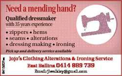 Needamendinghand? Qualified dressmaker with 35 years experience * zippers * hems * seams * alteratio...