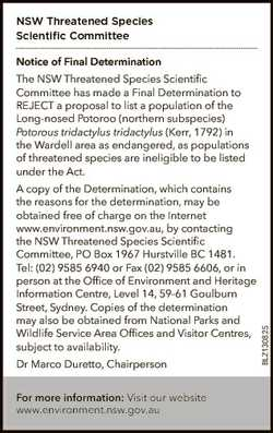 NSW Threatened Species Scientific Committee Notice of Final Determination A copy of the Determinatio...