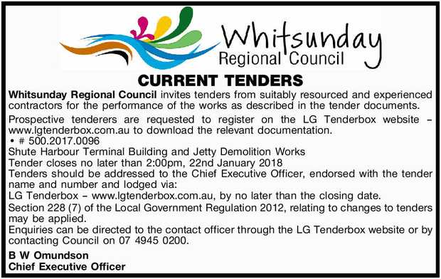 Whitsunday Regional Council invites tenders from suitably resourced and experienced contrac...