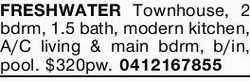 FRESHWATER Townhouse.    2 bedroom  1.5 bathroom  Modern kitchen  Air Condi...