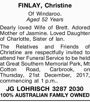 FINLAY, Christine