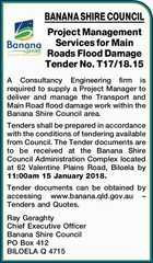 BANANA SHIRE COUNCIL Project Management Services for Main Roads Flood Damage Tender No. T17/18.15