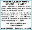 WEBBER, Kelvin James